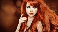 Red Hair. Beautiful Woman. Healthy Long Hair. Beauty Model Girl.