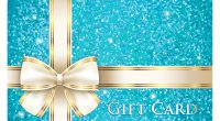 Luxury turquoise shiny gift card composed from glitters